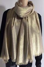 Gold Sparkly Pashmina Scarf Shawl Wrap Metallic Shimmery Soft Oversized NEW