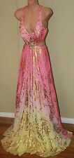 Womens Stunning Yellow and Pink Formal Gown - Mac Duggal - Size 2