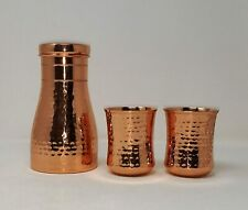 Indian Hammered Bedroom Copper Bottle with Inbuilt Glass Drinkware 2 Glasses Set