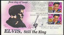 2721 Elvis Presley FDC Pugh Hand Painted DUAL Cancels Memphis + Tupelo MSLOT 876