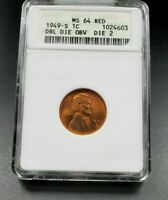 1949 S Lincoln Wheat Cent Penny Coin Variety ANACS MS64 DDO 002 Double Die OBV