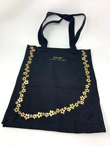 Marc Jacobs Daisy Fragrances Gold Floral Flowers Black Canvas Tote Bag