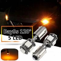 2X BAY9S 435 H21W 5050SMD LED Turn Indicator Light Side Light Yellow Error Free
