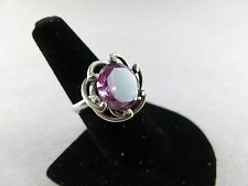 Sterling Silver Ring Synthetic Alexandrite BRV Taxco size 7.5 8.5g Mexico [1769]