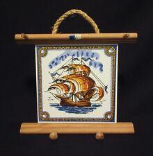 Acores Azores Portugal Nautical Souvenir Key Holder Sailing Ship Wood Ceramic Ti
