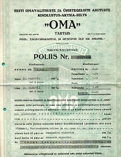 "ESTONIA insurance 3000.00 KROONI 1935s ""OMA"" 133"