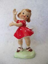 Vintage Ceramic Girl figurine made in Japan red polka dot dress
