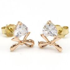 14k Solid Rose Gold Earrings 7699 Charming Big Cubic Ribbon Design Lovely