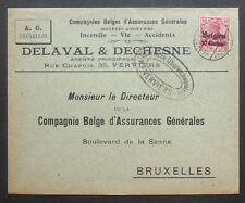 """WORLD WAR 1 GERMAN OCCUPATION OF BELGIUM MILITARY CENSORED COVER """"DELVAL & DECHE"""