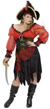 Pirate Bucaneer Beauty Costume Ladies 4 Pc Red & Blk. Skirt Top Belt Scarf XL
