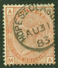 SG 163 1/- orange brown plate 13. Very fine used Hope St Glasgow. Aug 31st...
