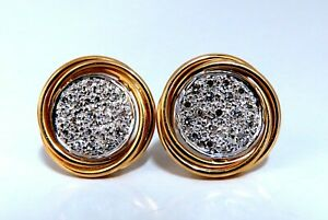 .60ct Natural Diamonds Cluster Circular Clip Earrings 14 Karat & Trim