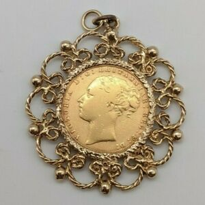 A Rare 1876 Gold Sovereign Queen Victoria Young Head with 9ct Pendant Mount