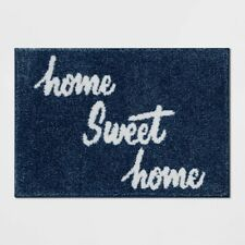 """Threshold Bath Rug 'HOME SWEET HOME' 18"""" X 26"""" blue with White Lettering NEW!"""
