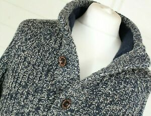 FAT FACE Chunky Knit Jumper L Henley Collar Fisherman Wool Mix Autumn Winter