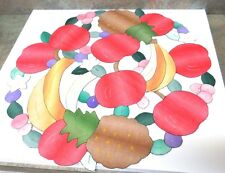 """2-lot Lg+Med """"FRUIT"""" Open Cutwork Hd-Embr. ROUND Center Table Topper/ Mat/ Scarf"""