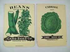 ANTIQUE CARD SEED CO. GREEN BEANS CABBAGE EMPTY SEED PACKS EARLY 1900'S NEW YORK