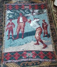 Woven Golf Theme Throw Blanket Tapestry - Made In USA - Goodwin Weavers