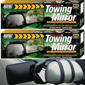 2x Maypole Convex Extension Towing Trailer Pair Twin Mirror Glass Car Caravan