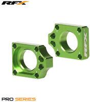 Kawasaki KX 125 M 2007-2008 RFX Pro Green Rear Wheel Axle Adjuster Blocks