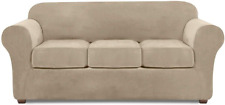 Velvet Sofa Covers For 3 Cushion Couch Couch Cover 4 Piece Couch Slipcover (Taup