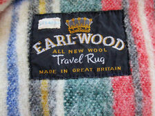 Vintage Earl-Wood Travel Rug all New Wool Green,Red,White,Blue Plaid(Stearns)