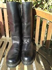 Vintage Mens Size 10 Black Leather Biker - Combat Army Boots Made in England