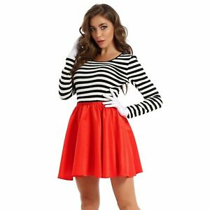 Ladies Mesmerizing Mime Costume Women Artist Clown Circus Fancy Dress Outfits