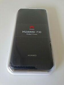 Genuine Original Huawei P30 Wallet Cover Faux Leather Flip Case Black