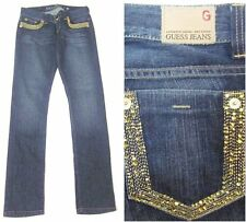 GUESS Jeans Topaz Crystal Gold Metallic Embroidered Straight SZ 28 x 33
