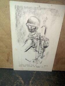 "Vintage Patriotic -Postcard- Marshall Davis Sketch Artist. They Asked For It"""