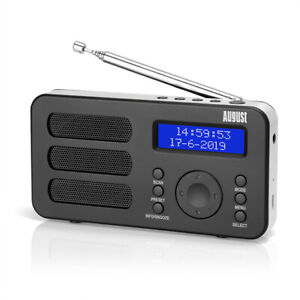 August MB225 Portable Digital Radio - DAB+/FM - RDS Function, 40 Presets & Alarm