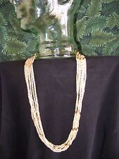 """Elegant 6 Strand Bone Look Acrylic Necklace with Gold Tone Accents, 28"""""""