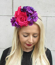 Purple Hot Pink Hydrangea Rose Flower Fascinator Races Headband Headpiece 2305