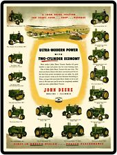 John Deere Tractors New Metal Sign: Two Cylinder Models on Parade
