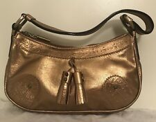 Burberry Leather Pochette Small Handbag Purse Metallic Bronze Gold Tassels New