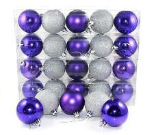 30 boules violet et argent à paillettes 6 cm, décoration pour sapin de Noël