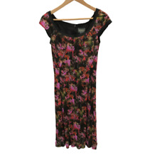 New Zac Posen Dress UK 10 US 6 Black Pink Patterned Scoop Neck Occasion 260101