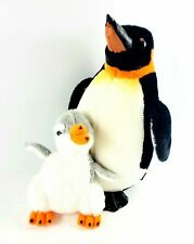 """Sea World Penguin Plush Mom and Baby Chick 14"""" Tall"""