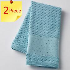 Pilbeam Zig Zag Teal / Aqua with Diamante Trim Jacquard Hand Towel | 2 Piece Set