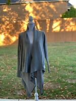 Lululemon Gray Zen Wrap Tencel Wool Blend Draped Waterfall Cardigan Sweater 10