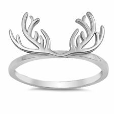 Antlers Band Ring 925 Sterling Silver Simple Plain Choose Color