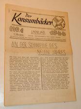 zurich 1944 JOURNAL ANCIEN N°1 der konsumbäcker zeitung VSKB schweiz ERNST VOGT