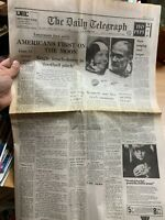 AMERICANS FIRST ON THE MOON REPRINT 21 JULY 1969 DAILY TELEGRAPH UK NEWSPAPER