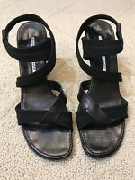 DONALD J PLINER STRETCH STRAPPY LEATHER TRIM SANDALS BLACK HEELS SIZE 8 N