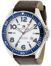 NIB Tommy Hilfiger White Dial GMT Brown Leather Men's Watch 1791132