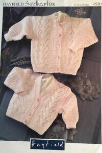 """DK Knitting Pattern Baby Boys Girls Cardigan V Or Round Neck Size 20/24"""" Chest"""