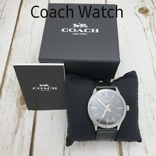Coach Men Watch Baxter Water Resistant Stainless Steel Case Leather Black W1584