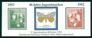 GERMANY S/S 1992 INSECTS BUTTERFLIES MOTH PAPILLON DE NUIT FALTER m2437