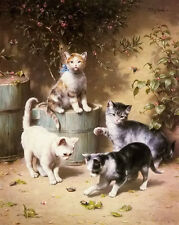 Oil painting Carl Reichert - kittens playing beetles free shipping Hand painted